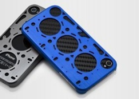 Gasket Rally Blue iPhone 4 case with Carbon Back-Skin from id America