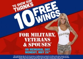 Hooters Offering Free Wings to Veterans on Memorial Day