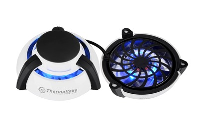 Thermaltake GOrb II laptop cooler is equipped with Blue LEDs and designed with a unique portable ball shape